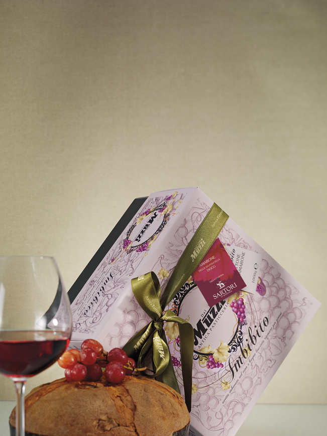 Panettone imbibito vino amarone della valpolicella