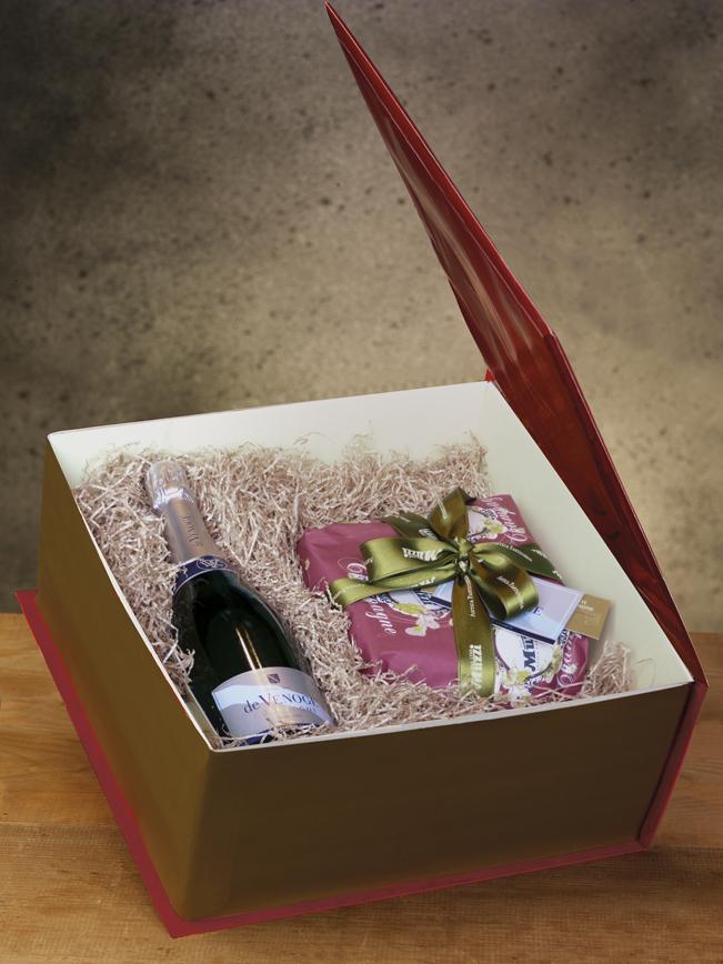 Panettone scatola rigida con bottiglia champagne de Venoge