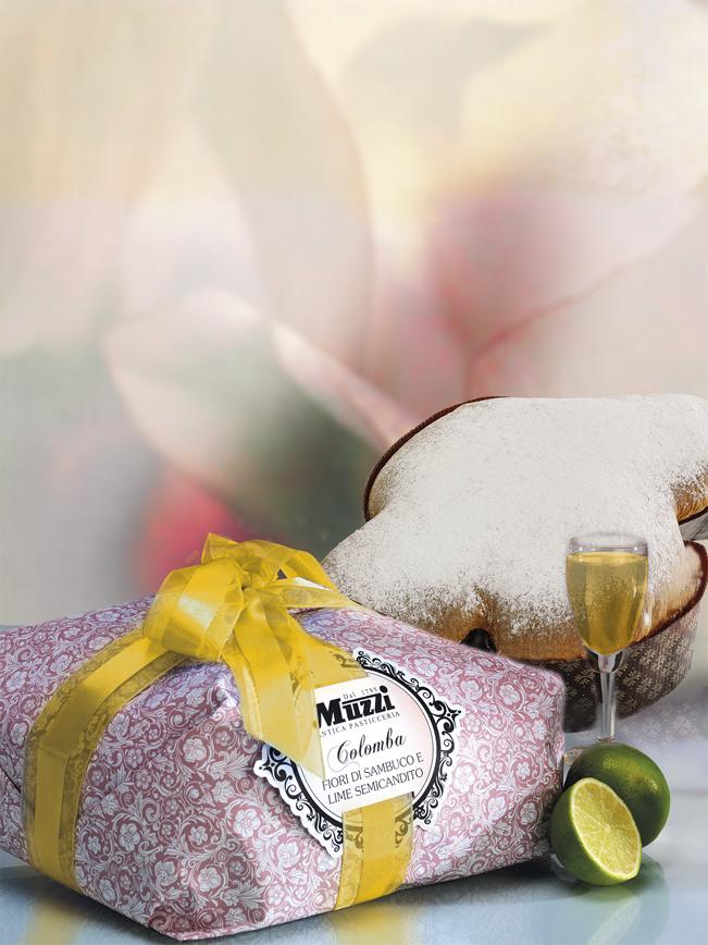 Colomba fiori di sambuco e lime semicandito muzzi pasqua linea gran classica