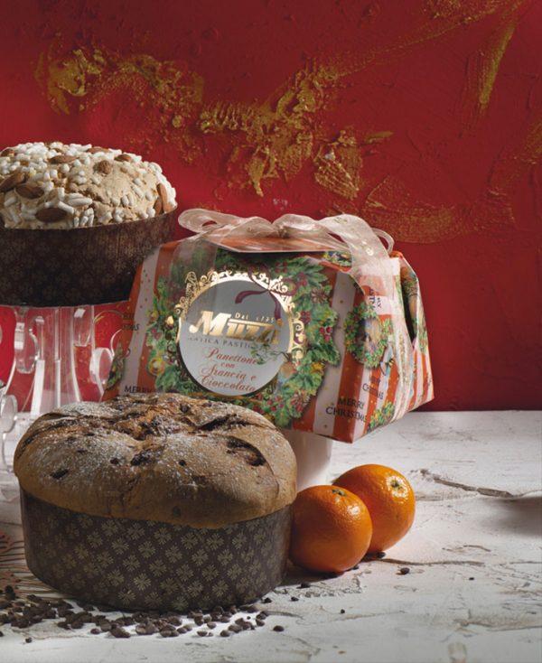 Panettone Crema arancia e gocce cioccolato ghirlanda Muzzi
